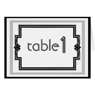 Black White Silver Art Deco Table Number tent card