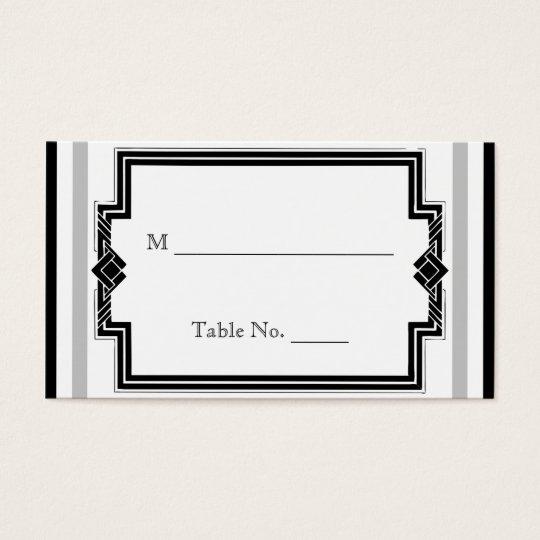 Black White Silver Art Deco Wedding Place Cards