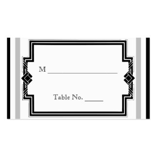 Black White Silver Art Deco Wedding Place Cards Business Cards