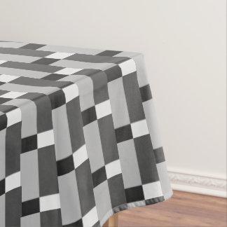 Black White Silver Gray Striped Pattern Tablecloth