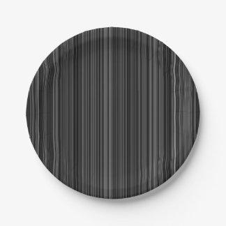 Black white silver grey stripe paper plate 7 inch paper plate