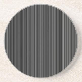 Black white silver grey stripe sandstone coaster