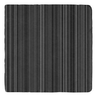 Black white silver grey stripe stone trivet