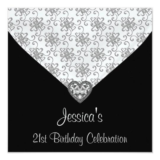 Black White Silver Hearts Jewel 21st Birthday Card