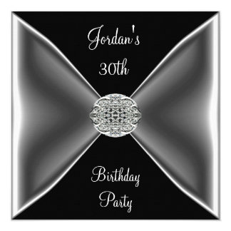 Black & White Silver Jewel  30th Birthday Party 13 Cm X 13 Cm Square Invitation Card