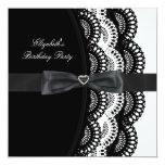 Black White Silver Lace Elegant Birthday Party