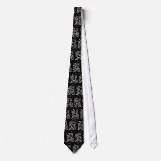 black white silver nativity tie