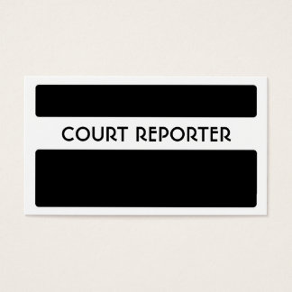 Black white simple court reporter business cards