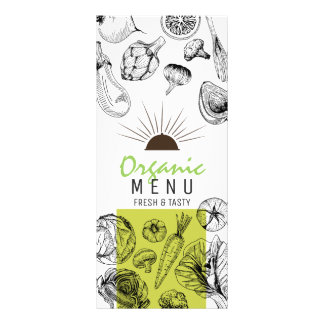 Black white sketch art organic vegan menu template personalised rack card