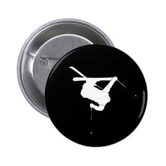 Black & White Skier 6 Cm Round Badge