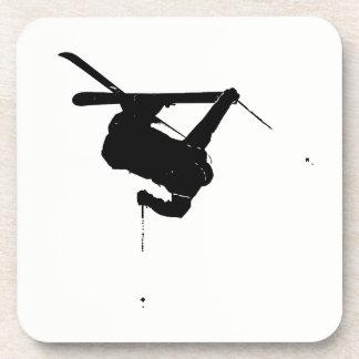 Black & White Skier Beverage Coasters