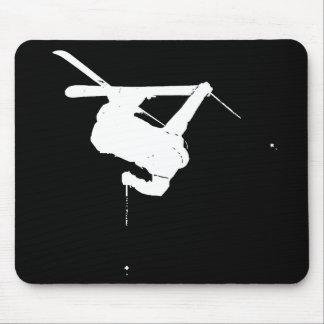 Black & White Skier Mouse Pad
