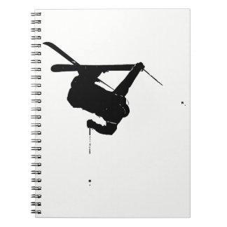 Black & White Skier Spiral Notebook