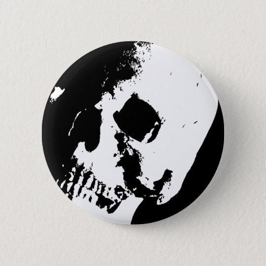 Black & White Skull 6 Cm Round Badge