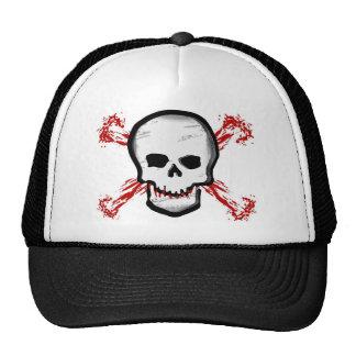 Black/White Skull & Bloody Cross Bones Cap
