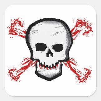 Black White Skull Bloody Cross Bones Square Stickers