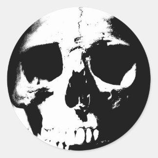 Black & White Skull Classic Round Sticker