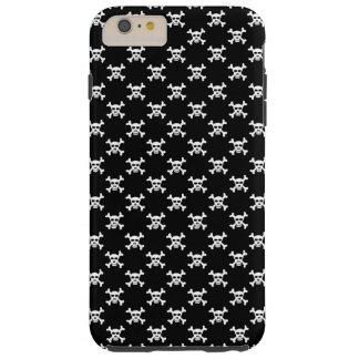 Black White Skull & Crossbones Polka Dots Tough iPhone 6 Plus Case