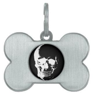 Black & White Skull Pet Name Tag