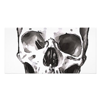 Black White Skull Personalized Photo Card