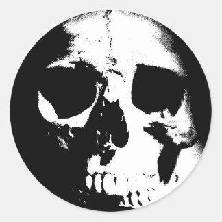 Black White Skull Round Sticker
