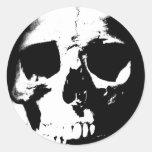 Black & White Skull Round Stickers