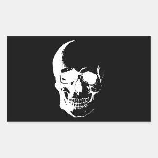Black & White Skull Rectangle Stickers