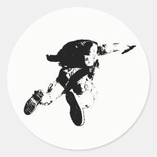 Black & White Skydiving Classic Round Sticker