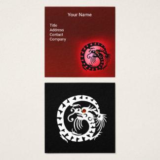 BLACK WHITE SNAKE DRAGON RED RUBY Gemstone Square Business Card