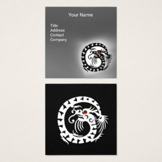 BLACK WHITE SNAKE DRAGON RED RUBY Grey Gemstone Square Business Card