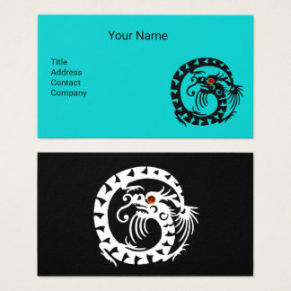 BLACK WHITE SNAKE DRAGON WITH RED RUBY Aqua Blue Business Card