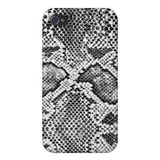 Black & White Snakeskin Pattern iPhone 4 Case