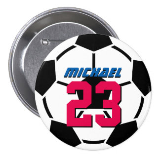 Black White Soccer Ball Sports Team Button Pin