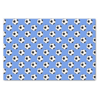 """Black/White Soccer Football Balls, Cornflower Blue 10"""" X 15"""" Tissue Paper"""
