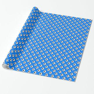 Black/White Soccer Football Balls on Azure Blue Wrapping Paper