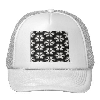 Black & White Sparkle Flowers Pattern Cap