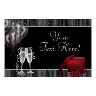 Black White Sparkles Champagne Party Banner Print