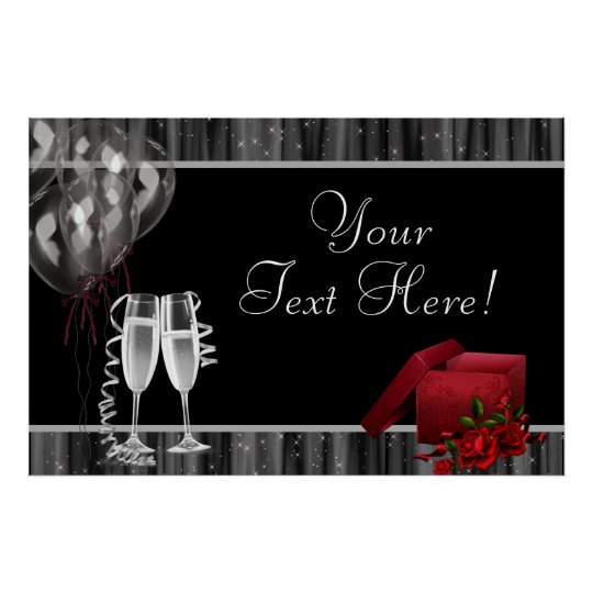 Black White Sparkles Champagne Party Banner Poster