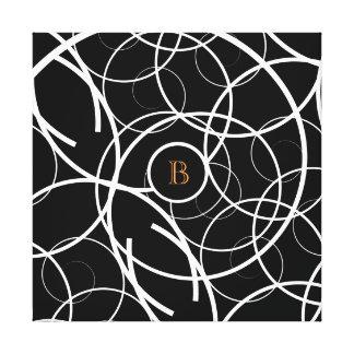 Black & White Spiral (orange monogram)   Canvas
