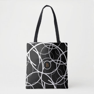 Black & White Spiral (orange monogram) | Tote