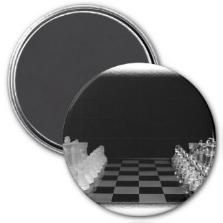 Black & White Spooky Glass Chess Board Game Magnets