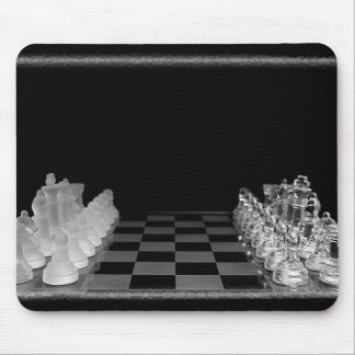 Black & White Spooky Glass Chess Board Game Mouse Mat