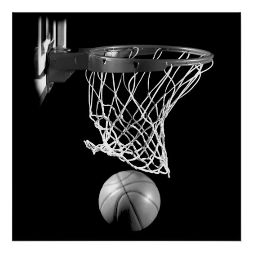 Black & White Square Basketball Ball & Net