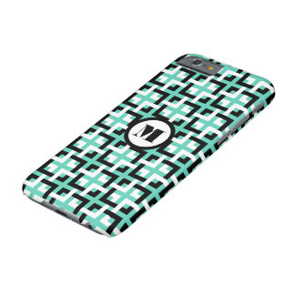 Black-White Squares and Aqua iPhone 6 Case Barely There iPhone 6 Case