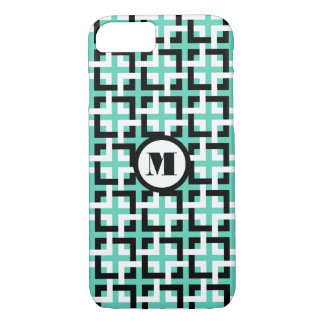 Black-White Squares and Aqua iPhone 7 Case