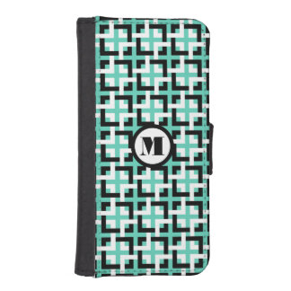 Black-White Squares and Aqua Wallet Case iPhone 5 Wallet Cases