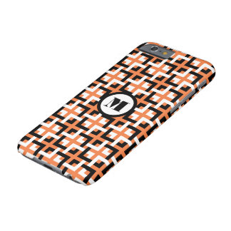 Black-White Squares and Orange iPhone 6 Case Barely There iPhone 6 Case