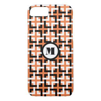 Black-White Squares and Orange iPhone 7 Case