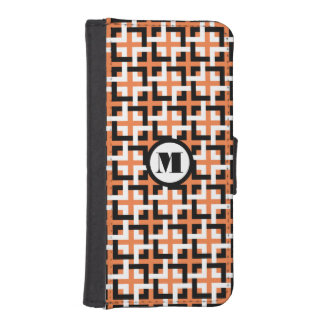 Black-White Squares and Orange Wallet Case Phone Wallet Case