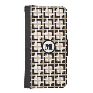 Black-White Squares and Tan Wallet Case iPhone 5 Wallets